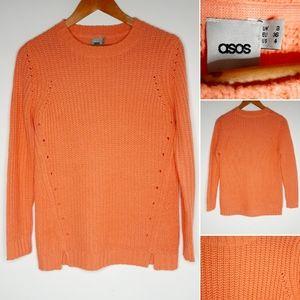 Asos orange long sweater size 4
